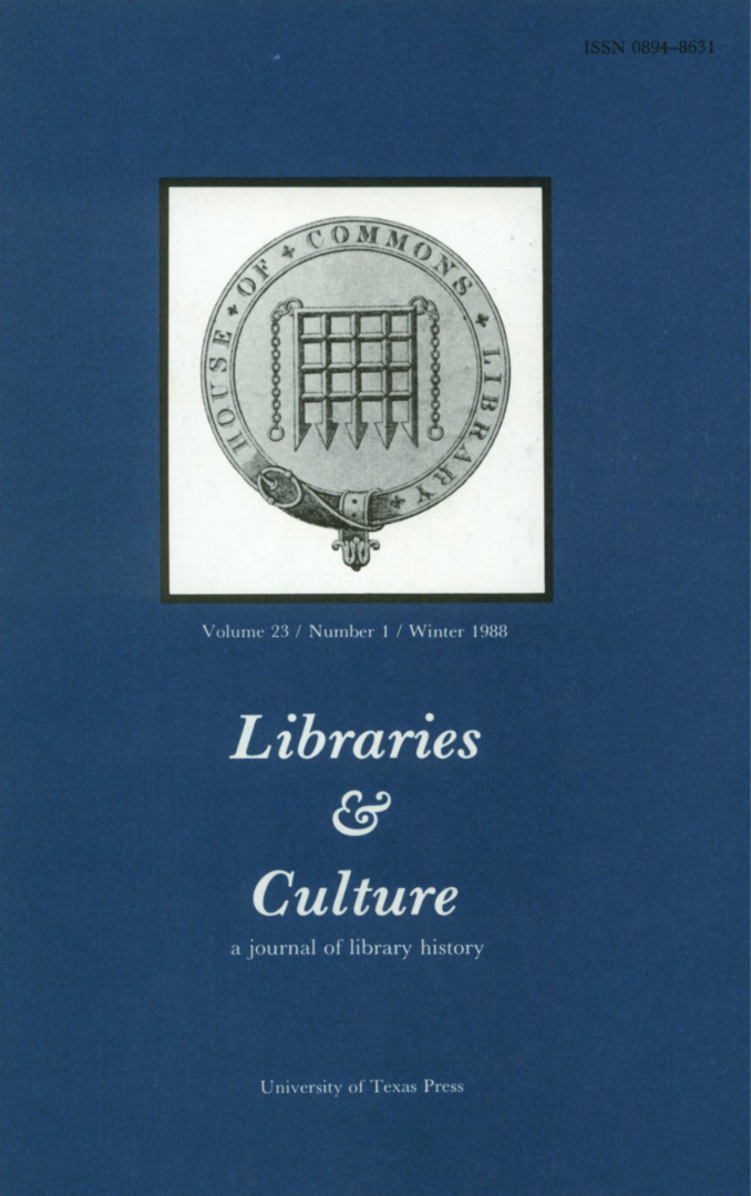 Libraries & Culture cover 1988
