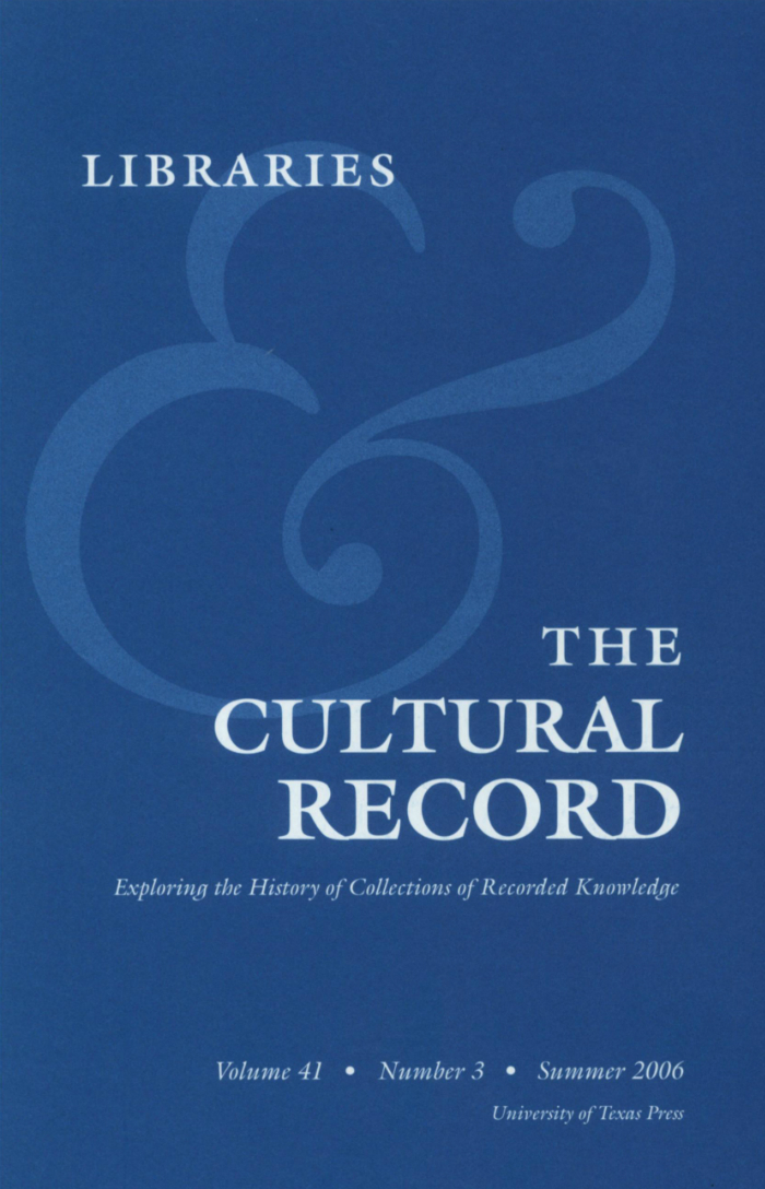 Libraries & the Cultural Record cover 2006